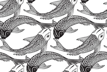 Seamless vector pattern with hand drawn Koi fish