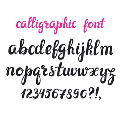 Hand drawn brush pen calligraphy cursive font.