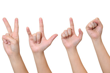 Middle woman hand signs isolate on white background, with clippi