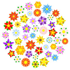 colorful cartoon flowers