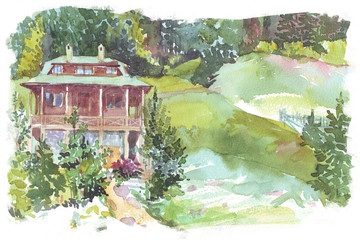 Mountain Chalet watercolor illustration