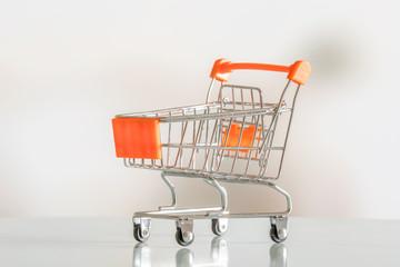 Empty shopping cart in a market
