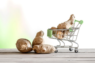 Ginger in a shopping cart