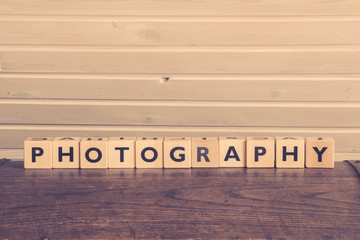 Photography word on wooden cubes