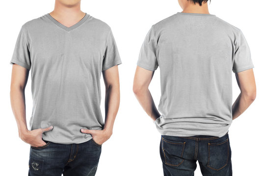 Close up of man in front and back light grey shirt on white back