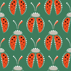 Seamless vector pattern with insects, symmetrical background with red decorative  closeup ladybugs,  on the green backdrop. Series of Animals and Insects Seamless Patterns.