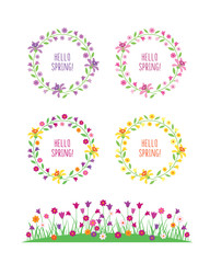 Hello spring. Spring flowers. Wreath of flowers and leaves. Spring, summer elements for your design for wedding, birthday and other holidays. Vector illustration.