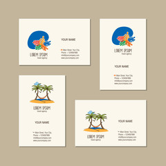 Travel agency business card template. Travel agency creative icon. Hand drawn summer symbol. Doodles, sketch for your design. Vector illustration.