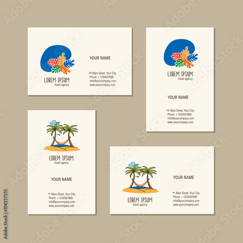 Travel Agency Business Card Template Creative Icon Hand Drawn Summer Symbol