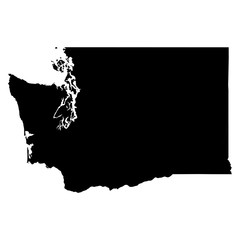 Washington black map on white background vector
