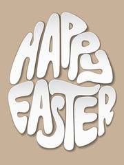 Happy Easter lettering, letters cut out of paper in the shape of an egg. Realistic vector illustration.