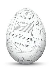 3D Vektor Osterei verziert mit mathematischen Formeln. Oval, Eiform mit Mathe Textur. Symbol für Schule, Studium, Ausbildung, Beruf Design.