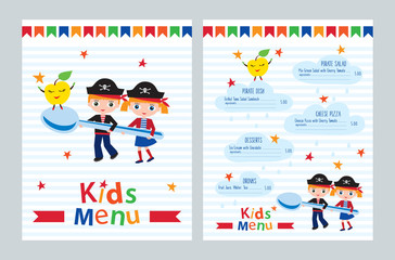Kids menu vector template. Kids menu for a pirate birthday party. Colorful menu for cafes, restaurants. Cover for children's menu. Sketch for your design. Vector illustration.