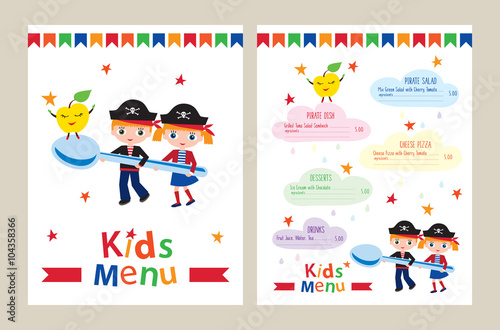 Kids menu vector template kids menu for a pirate birthday party kids menu vector template kids menu for a pirate birthday party colorful menu for stopboris Gallery