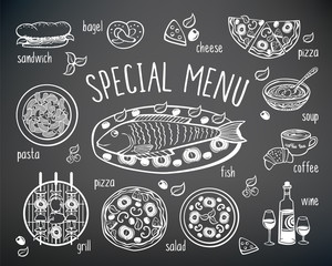 Set of elements for restaurant, cafe menu. Hand drawing with chalk on the black chalkboard. Sketch, design elements. Vector illustration.