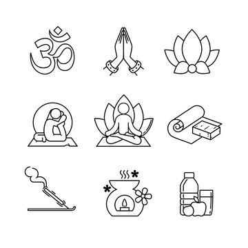 Yoga thin line art icons set