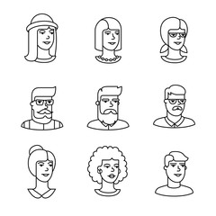 Human faces icons thin line art set
