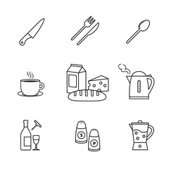 Food and drink icons thin line art set