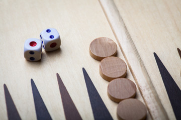 Backgammon board and dice