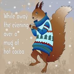 Лесные животные в зимних свитерах с кружкой