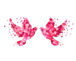 Wedding symbol - couple dove of pink rose petals. Love