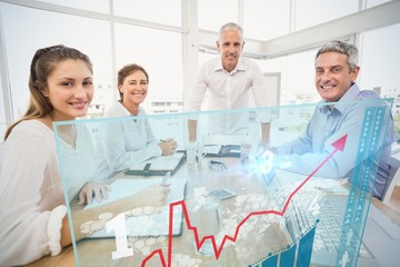 Composite image of four business people working