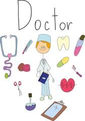 Vector children's doodle of doctor