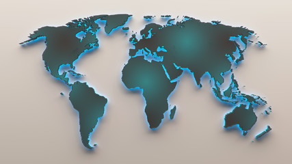 3d  perforated plate mesh World map with cyan light
