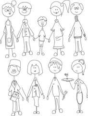 Vector children's doodle of happy family and different professions