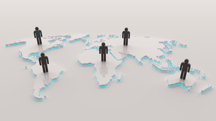Search photos 3d world map 3d world map with people and cyan light publicscrutiny Images