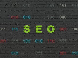 Web design concept: SEO on wall background