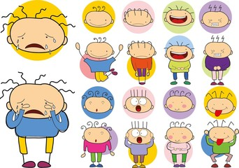 Set of cartoon character with different emotions