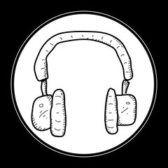 Simple doodle of a pair of headphones