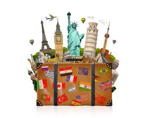 Travel bag full of famous monument of the world  on white backgr