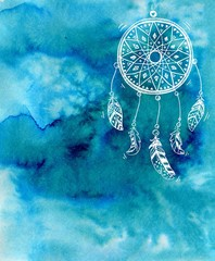 Hand drawn dreamcatcher on a blue watercolor background