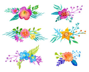 Watercolor flowers set. Spring, summer bouquets for your design
