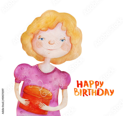 Happy Birthday Girl Illustration ~ Quot girl with gift happy birthday watercolor illustration stock photo and royalty free images on