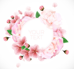 Bouquet of peonies summer template with your text