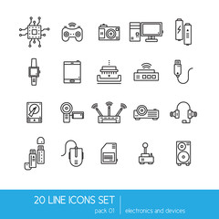 Thin lines icon collection - household appliances, electronics and devices.