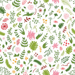 Vector seamless hand drawn floral pattern - flowers, branches, leaves.