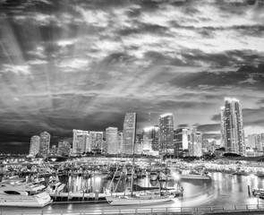 Black and white view of Miami night skyline, Florida