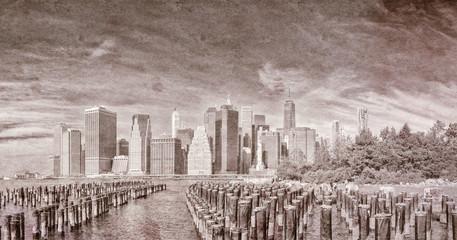 Vintage view of New York City skyline
