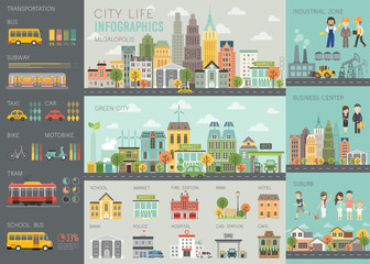 City life Infographic set with charts and other elements.