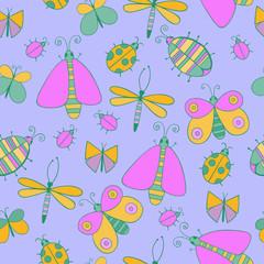 Cute cartoon insect set. Dragonflies, butterflies and bugs. Vector seamless pattern.