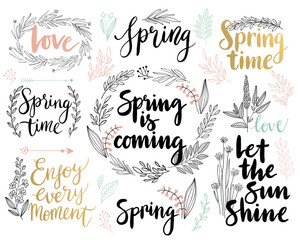 Wall Mural - Spring Lettering set - hand drawn