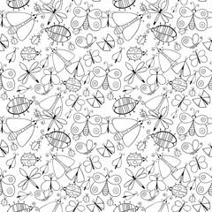 Cute cartoon monochrome insect set. Dragonflies, butterflies and bugs. Vector seamless pattern.