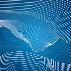 White lines, abstraction composition, mountains, vector design background
