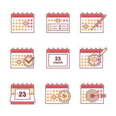 Calendar set. Thin line art icons