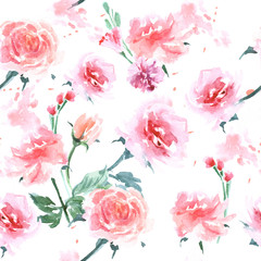 Seamless background with Watercolor roses. Vector illustration