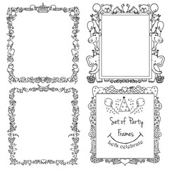 Set of decorative vintage frames and borders.